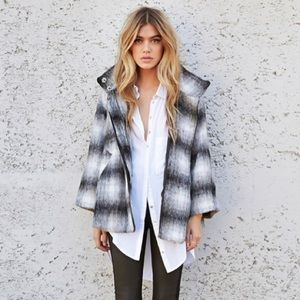 NWT Forever 21 Blurred Plaid A Line Fuzzy Jacket